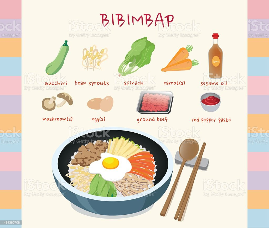 Bibimbap vector art illustration