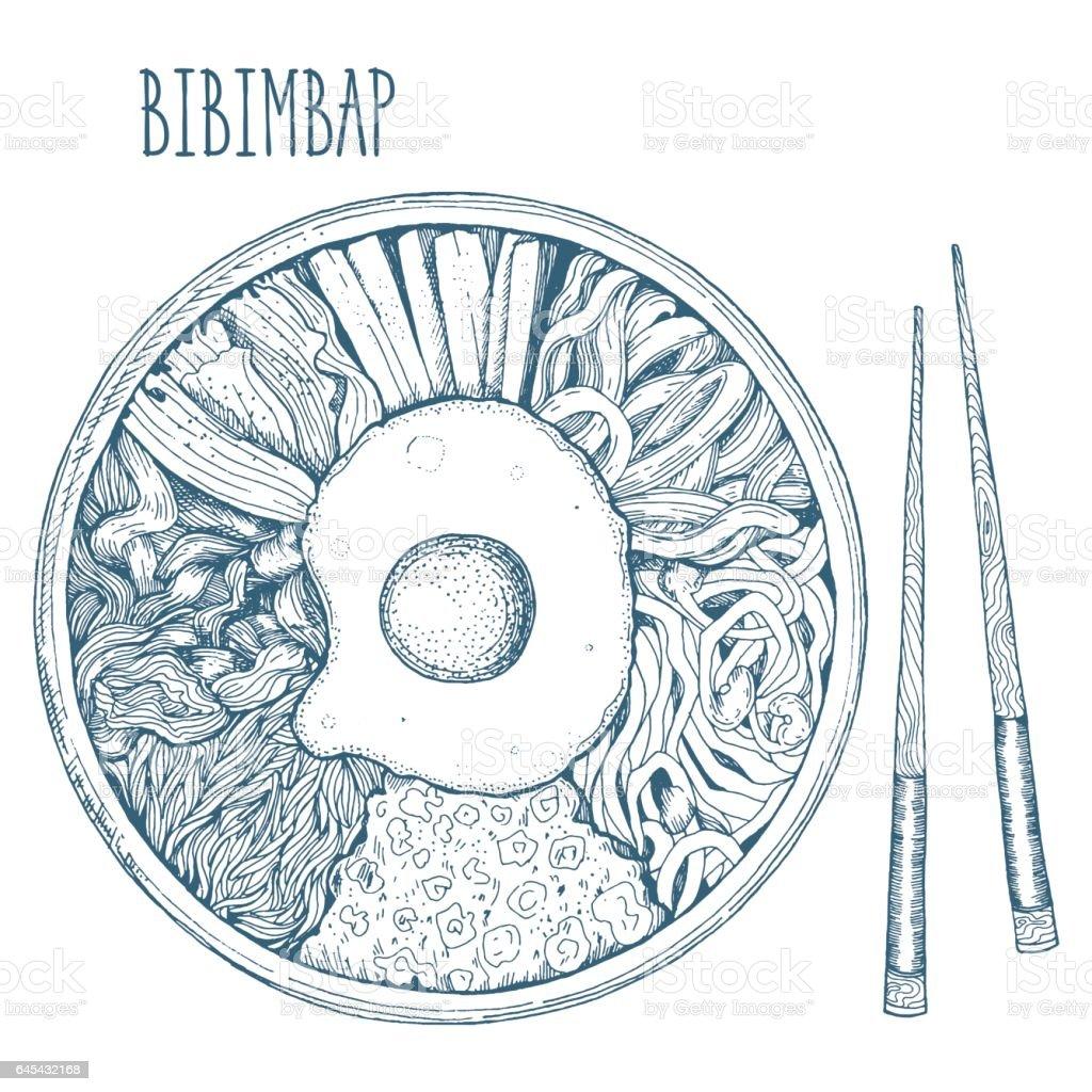 Bibimbap vector illustration. vector art illustration
