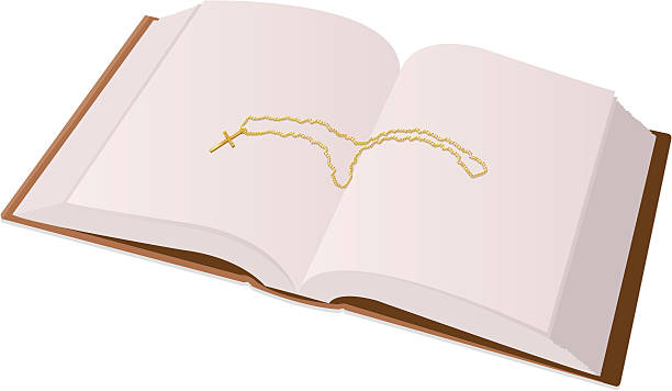 bibel und kreuz - kreuzkette stock-grafiken, -clipart, -cartoons und -symbole