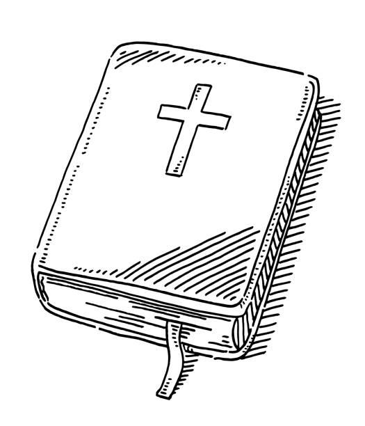 Bible Book Christian Cross Drawing vector art illustration