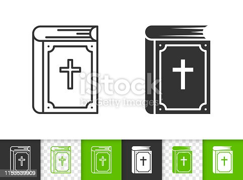 Bible black linear and silhouette icons. Thin line sign of christ book. Holy outline pictogram isolated on white, color, transparent background. Vector Icon shape. Religion simple symbol closeup