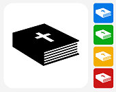 Bible Book Icon Flat Graphic Design