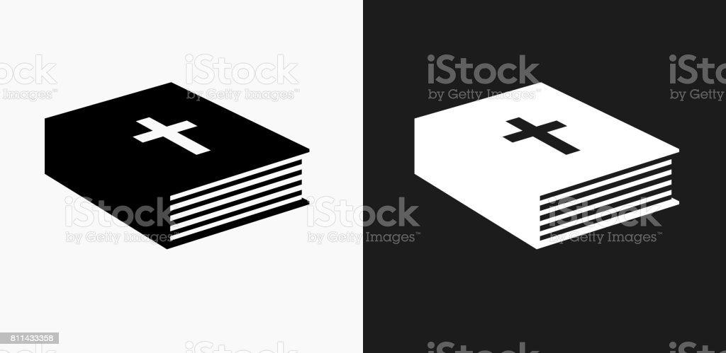 Icono de libro de la Biblia en blanco y negro Vector fondos - ilustración de arte vectorial