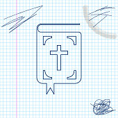 Bible book line sketch icon isolated on white background. Holy Bible book sign. Vector Illustration
