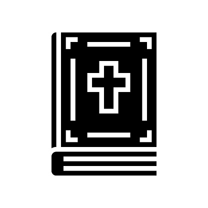 bible christianity book glyph icon vector illustration