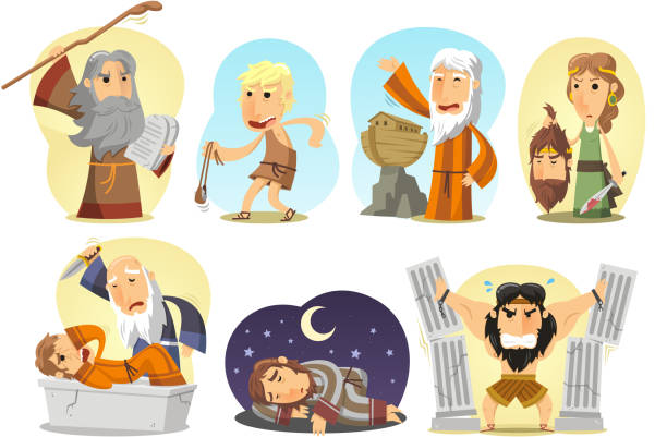 Bible Heroes Samson Noe Moises Judith David Joseph Abraham Samson, Noe, Moises, Judith, David Joseph and Abraham. Vector illustration cartoon. Abraham stock illustrations