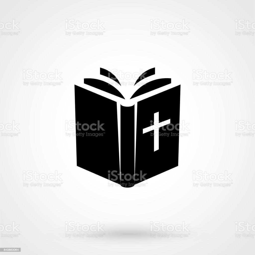 Biblia icono aislado sobre fondo. Pictograma plano moderno, negocio, marketing, concepto de internet. - ilustración de arte vectorial