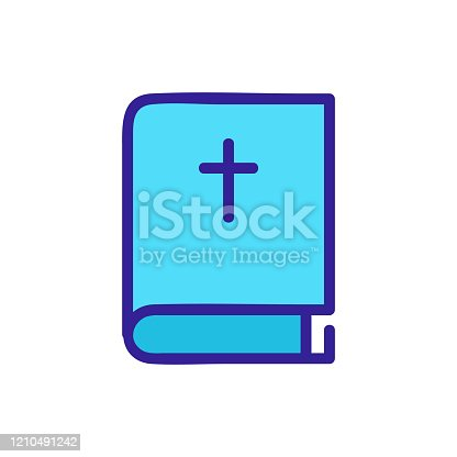 istock Bible icon vector. Isolated contour symbol illustration 1210491242