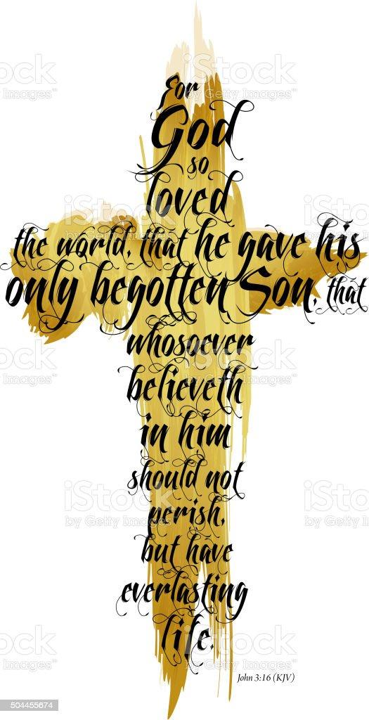 Bible John 3:16 KJV vector art illustration