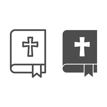 Bible line and solid icon. Book with the cross and bookmark outline style pictogram on white background. Religion signs for mobile concept and web design. Vector graphics.