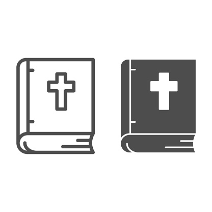 Bible line and solid icon, Christmas concept, religious book sign on white background, cover book with cross icon in outline style for mobile concept and web design. Vector graphics.