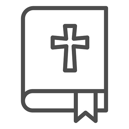 Bible line icon. Book with the cross and bookmark outline style pictogram on white background. Religion signs for mobile concept and web design. Vector graphics.