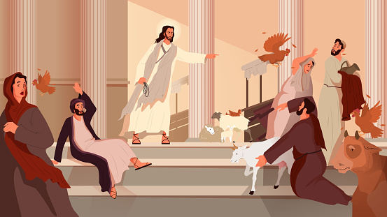 Bible narratives about the Cleansing of the Temple. Jesus expelling the merchants and the money changers from the Temple. Christian bible character. Vector illustration