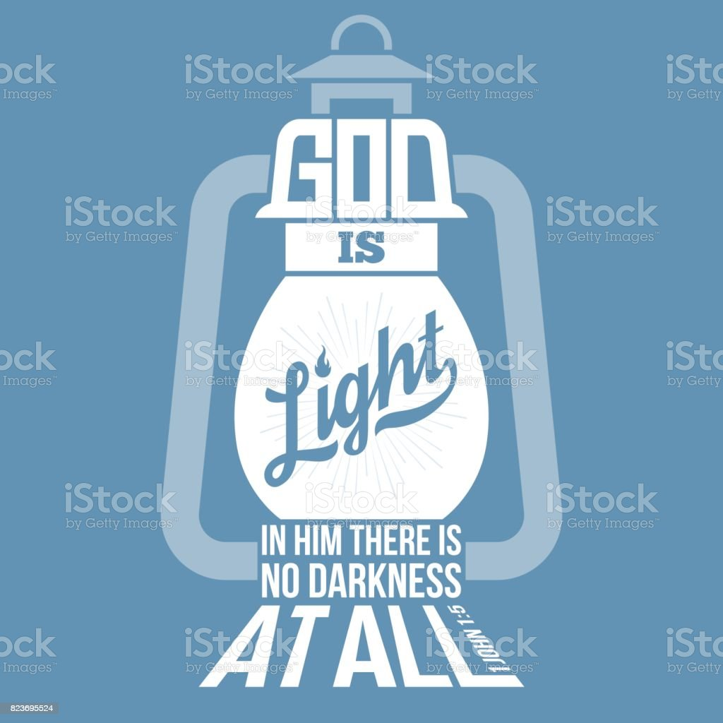 bible quotes, god is light in vintage lamp shape vector art illustration