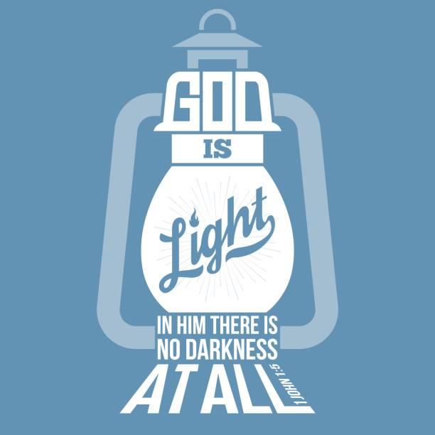 bible quotes, god is light in vintage lamp shape – artystyczna grafika wektorowa