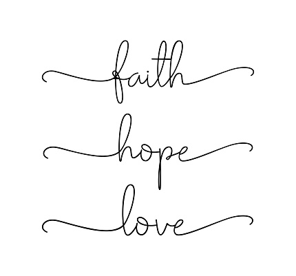 FAITH, HOPE, LOVE. Bible, religious, churh vector quote.