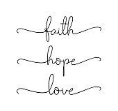 istock FAITH, HOPE, LOVE. Bible, religious, churh vector quote. 1251581846