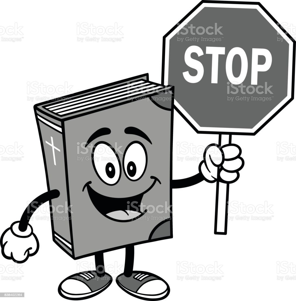 bible mascot with stop sign illustration stock vector art