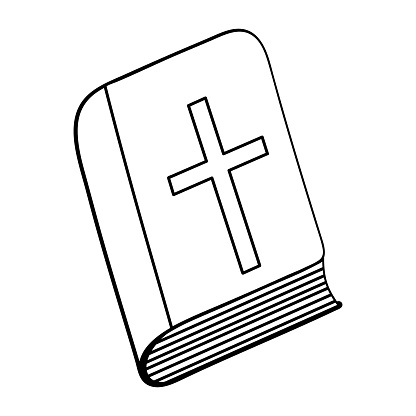 Bible. Sketch. Hardcover book with a cross on the cover. Vector illustration. Coloring book for children. Outline on white isolated background. Doodle style. Light Easter. Religious motives.