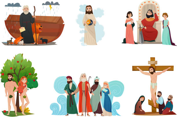 bible story set Bible narratives stylized compositions set with noah ark forbidden fruit moses story and crucifixion isolated vector illustration moses religious figure stock illustrations