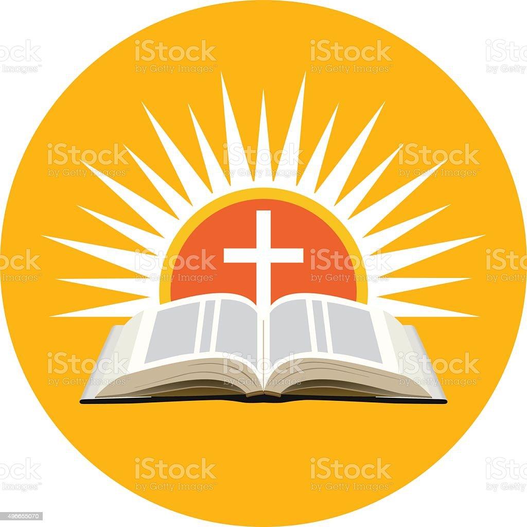 Biblia, la puesta de sol y la Cruz. Logotipo del concepto de la iglesia. - ilustración de arte vectorial