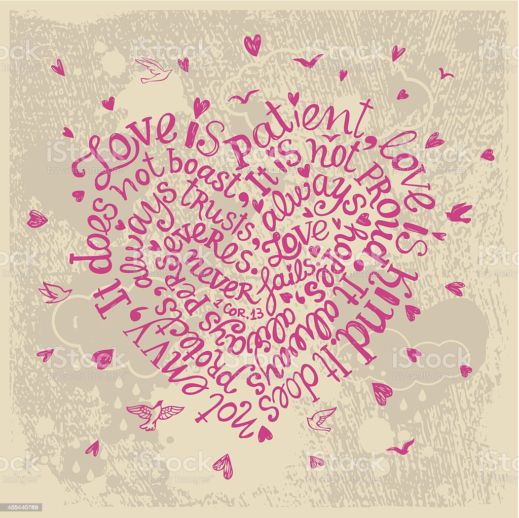 Bible verse about love written in pink in shape of a heart vector art illustration