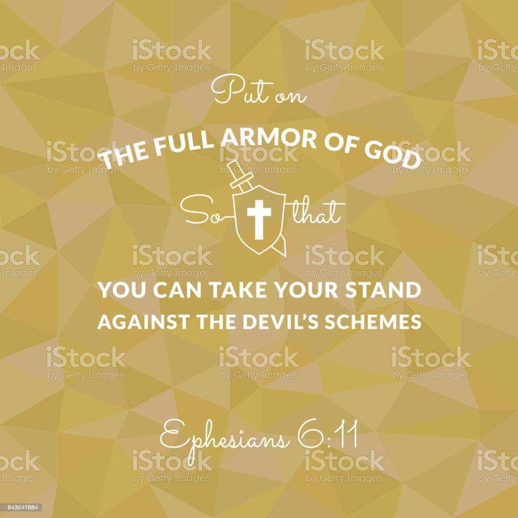 Bible verse from Ephesians on polygon background put on the full armor of god vector art illustration