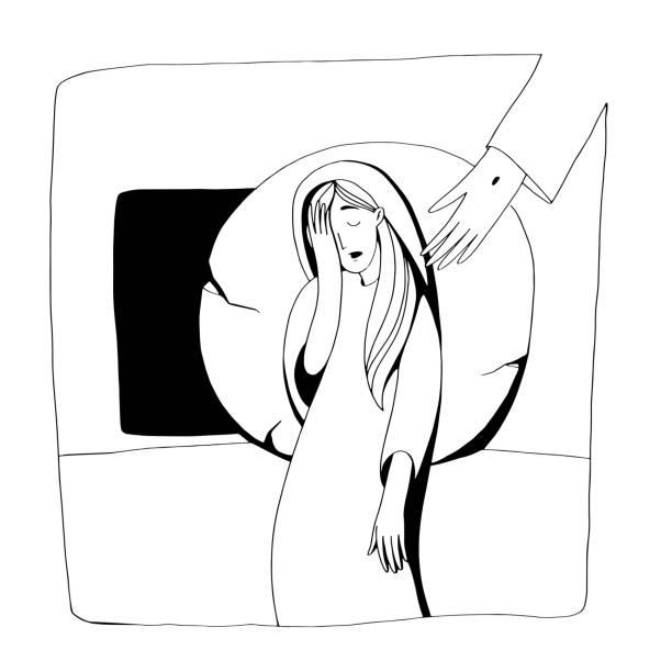 stockillustraties, clipart, cartoons en iconen met bijbelse verhaal over de opstanding, mary staan in de buurt van het lege graf en huilen, maar jezus niet zien. zwart-wit vectorillustratie voor coloring boek - funeral crying