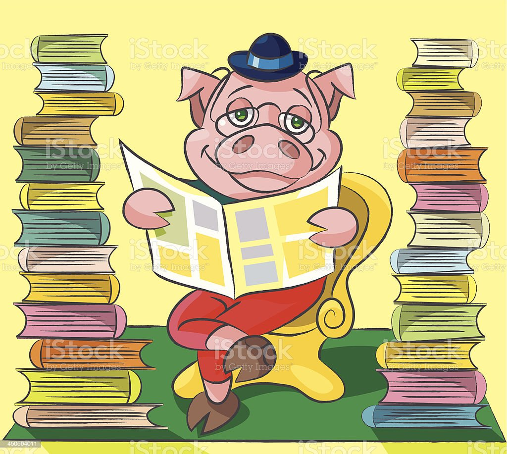 Bibliophile - pig royalty-free bibliophile pig stock vector art & more images of animal