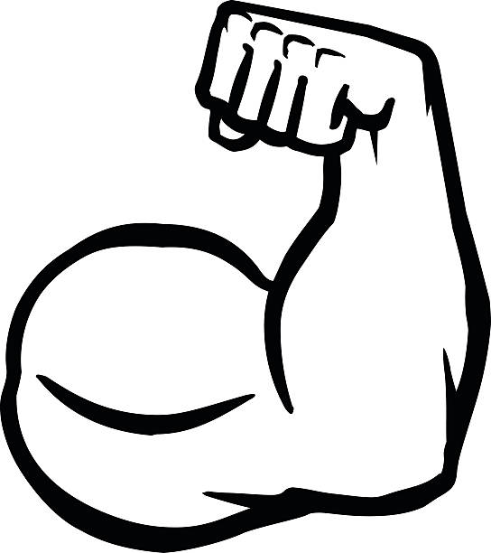 biceps flex arm vector icon - cartoon muscle arms stock illustrations, clip art, cartoons, & icons