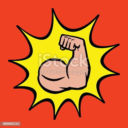 A cartoon style vector illustration of a muscular arm flexing in a bodybuilder pose