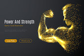 biceps hand low poly gold