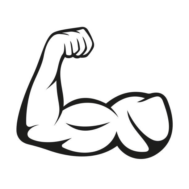 ilustraciones, imágenes clip art, dibujos animados e iconos de stock de biceps, logotipo muscular sobre fondo blanco. vector - atlético