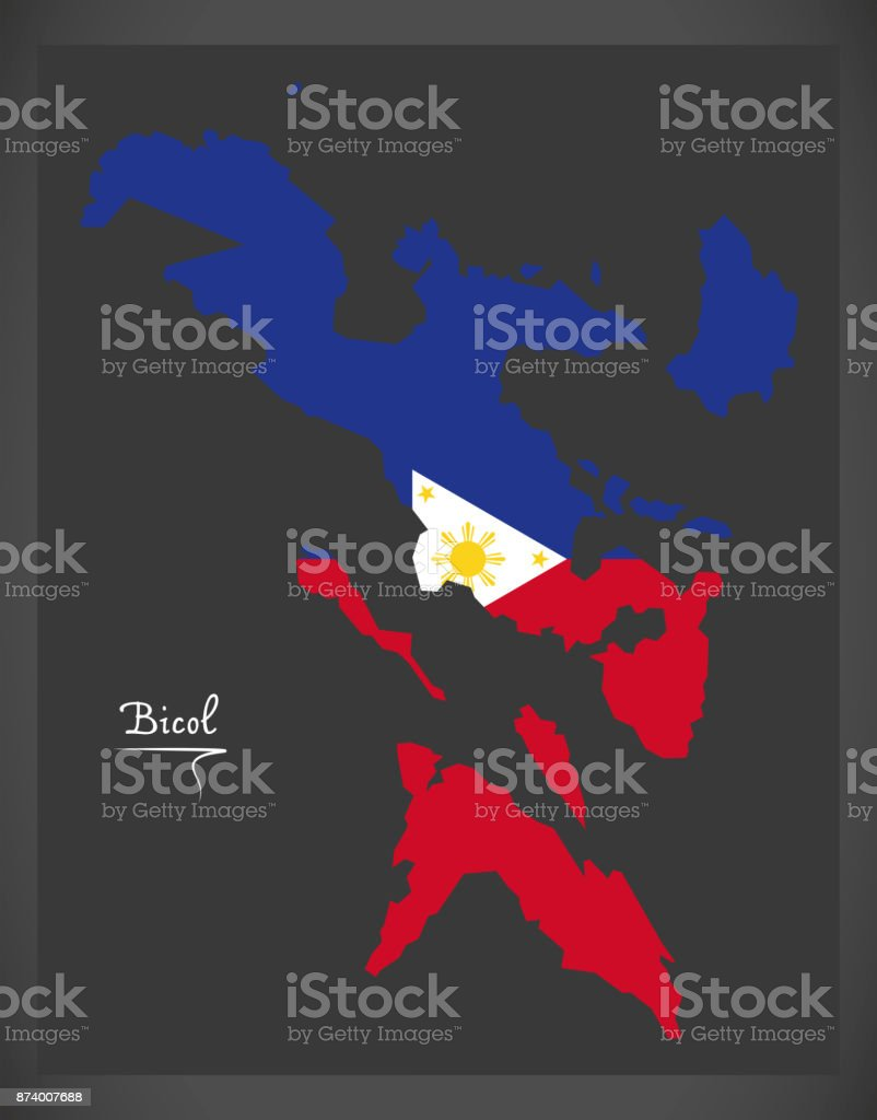 Bicol map of the Philippines with Philippine national flag illustration vector art illustration
