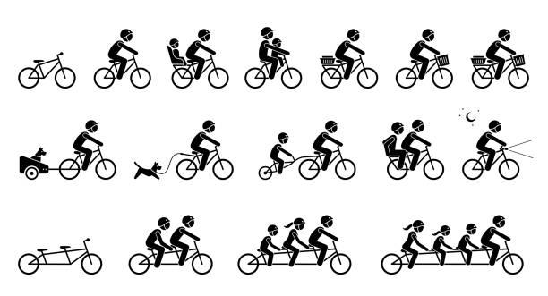 bildbanksillustrationer, clip art samt tecknat material och ikoner med cykeltillbehör och utrustning. - cykla