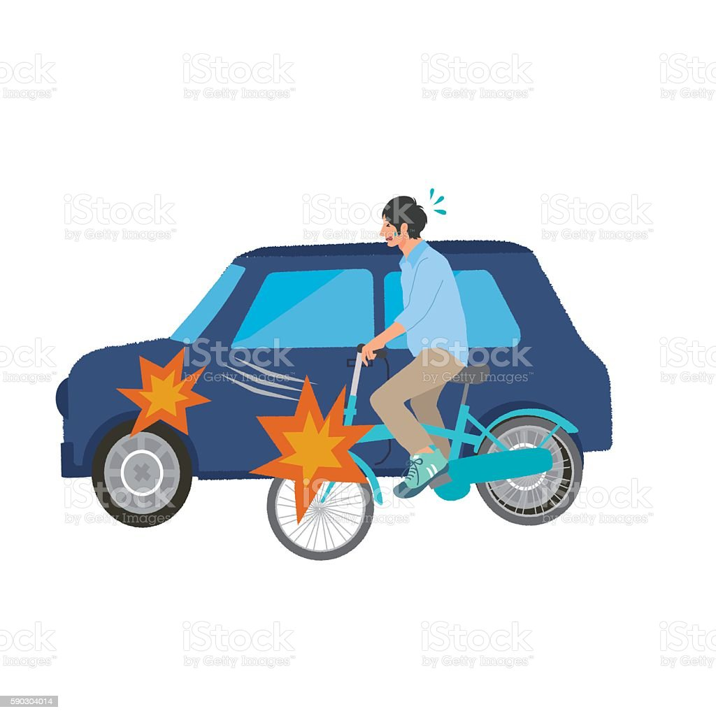 Bicycle accident illustrations vector art illustration