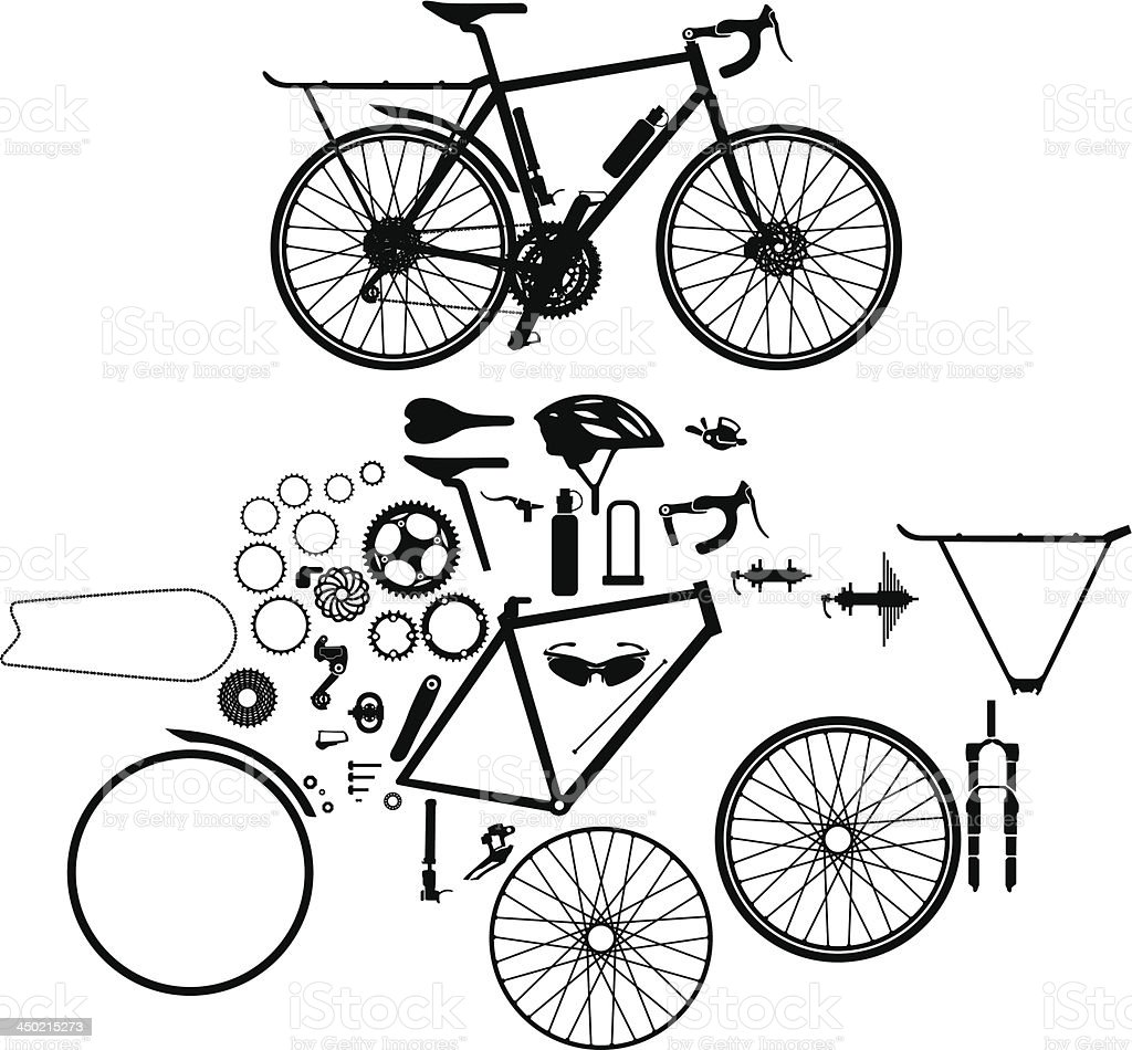 Bicycle and parts vector art illustration