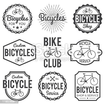 Bicycle Badges, Labels Set.Custom Bike Shop and service. For signage, prints and stamps