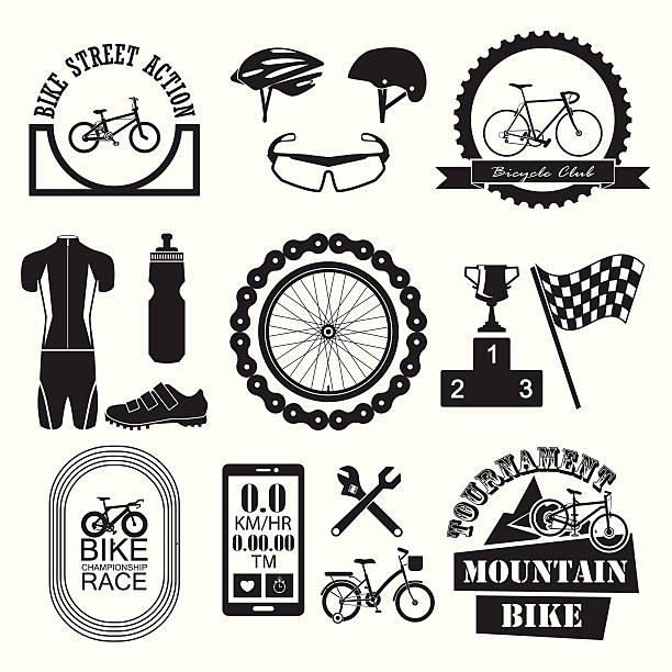 Bicycle Banner and icons set Bicycle Banner and icons set bicycle chain stock illustrations