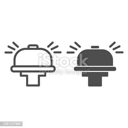 istock Bicycle bell line and solid icon, Summer sports concept, bicycle alarm sign on white background, bike ring icon in outline style for mobile concept and web design. Vector graphics. 1251227937