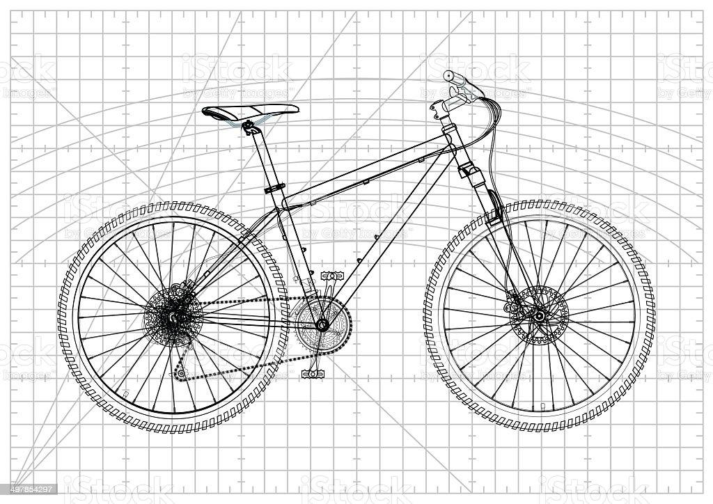 fahrrad technische zeichnung stock vektor art und mehr bilder von ausr stung und ger te. Black Bedroom Furniture Sets. Home Design Ideas