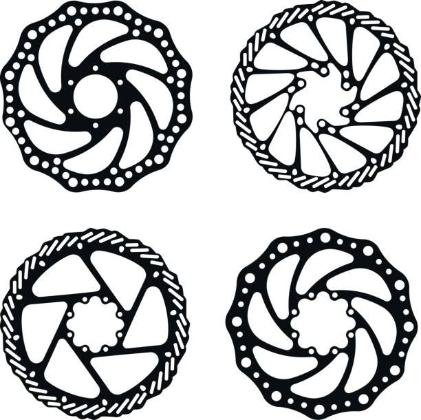 Fahrrad-Bremsscheibe. Fahrradteile. Vektor-Set. – Vektorgrafik