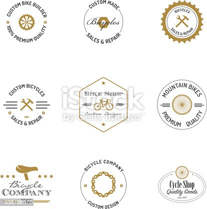 Bicycle builder badges with text