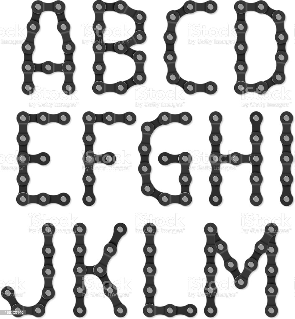 Bicycle chain alphabet royalty-free bicycle chain alphabet stock vector art & more images of alloy