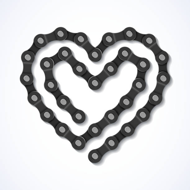 Bicycle chain heart Vector illustration with transparent effect. Eps10. bicycle chain stock illustrations