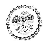 Bicycle chain in the form of a circle. 3D design. Vector illustration on white