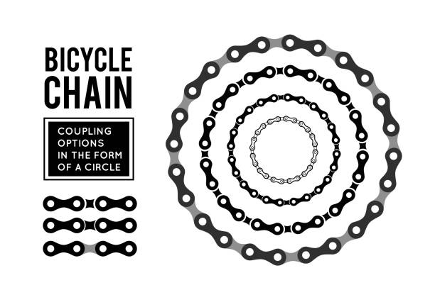 Bicycle chain in the form of a circle. 3D design Bicycle chain in the form of a circle. 3D design. Vector illustration on white bicycle chain stock illustrations