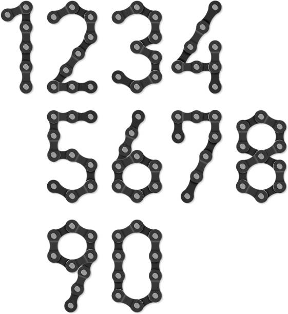 Bicycle chain numbers Vector illustration with transparent effect. Eps10. bicycle chain stock illustrations