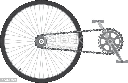 Bicycle chain transmission,vector illustration