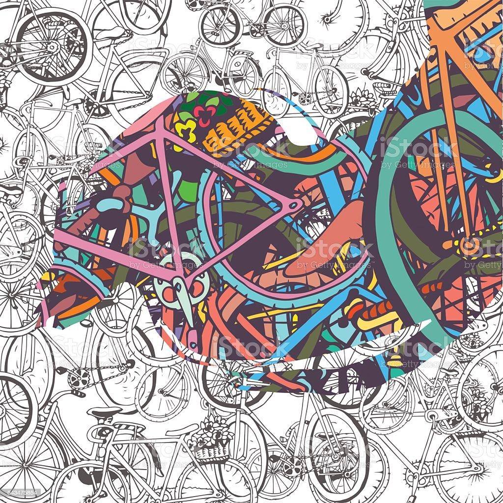 Ilustración de Bicycle Collage y más banco de imágenes de Actividad ...